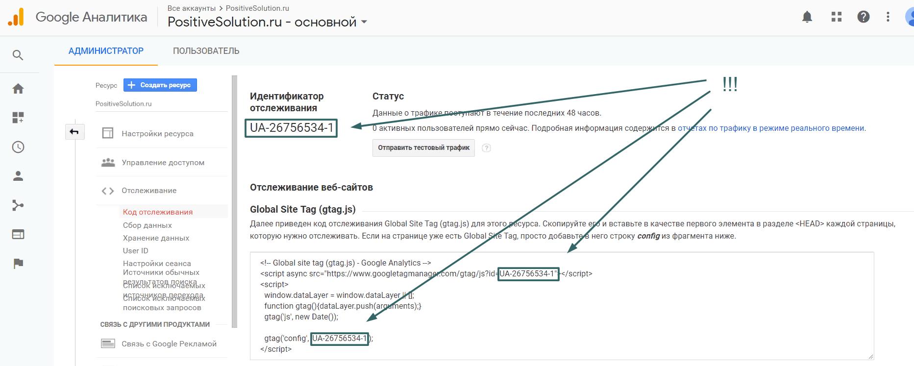 Код отслеживания Гугл Аналитики
